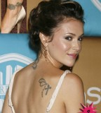 Alyssa Milano Lower-neck and Shoulder-blade Tattoo Design - Celebrity Tattoos