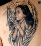 Beautiful Young Angel Shoulder-blade Tattoo Ideas for Men & Women