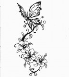 Beautiful Butterfly and Swirly Flowers Tattoo Sketch by Jimmybdeviant (Deviantart)