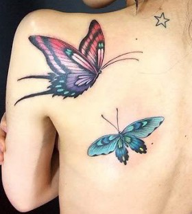Feminine Flying Butterflies Shoulder / Back Tattoo for Women