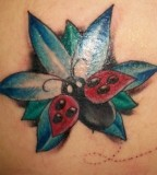 Fashionable Cute Bugs and Flowers Shoulder Blades Tattoos For Men and Women