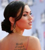 Megan Fox's Shoulder Blade Lettering Tattoo Design - Celebrity Tattoos