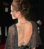 Angelina Jolie's Lower-neck and Shoulder Blade Tattoo Designs - Celebrity Tattoos