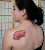 Feminine Red-Flower Shoulder Blade Tattoos for Women