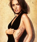 Megan Fox's Rib-cage / Side-body Lettering Tattoo Art Design - Celebrity Tattoos
