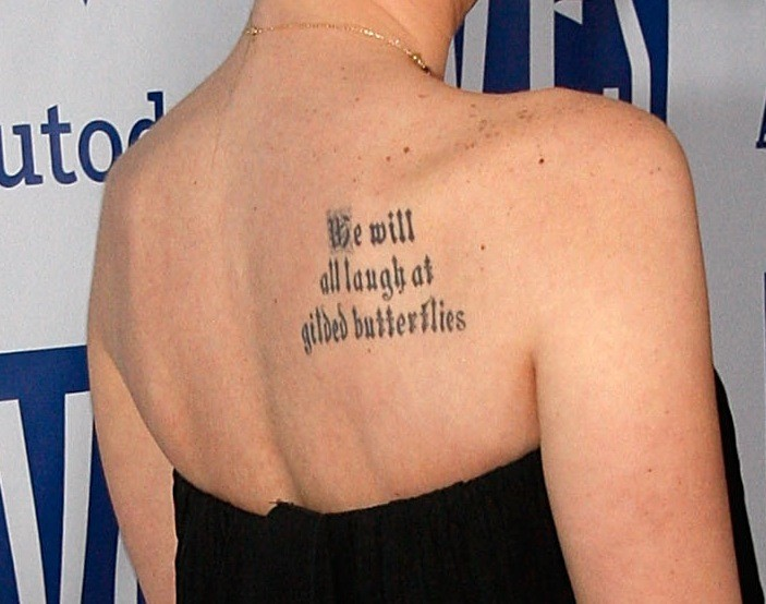 c76852804b60c Megan Fox's Tattoos on Shoulder Blade (Close up) - Celebrity Tattoos ...