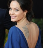 Angelina Jolie's Lower-Neck and Shoulder-blade Tattoos Design - Celebrity Tattoos