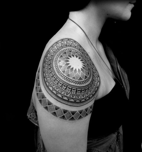 shoulder mandala dotwork tattoo