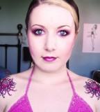 Beautiful Purple Flower Shoulder Tattoos For Women