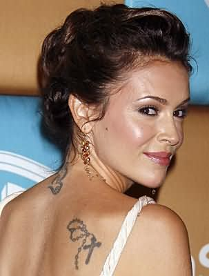 Alyssa Milano Back Shoulder Cross Tattoo Design – Celebrity Tattoo