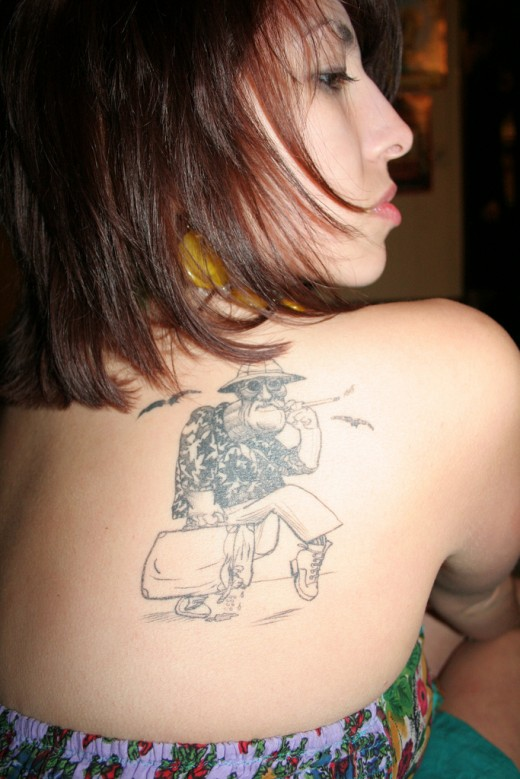 Cartoon Character Shoulder Tattoo Design for Women