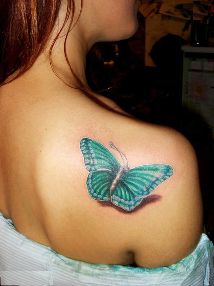 2012 / 2013 Beautiful Butterfly Shoulder Tattoos Designs For Women