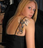 Shoulder Tattoo Girls of Tribal Mythical Dragon Tattoo Design for Women