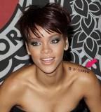Rihanna Shoulder Letter Tattoos Design - Celebrity Tattoos for Women