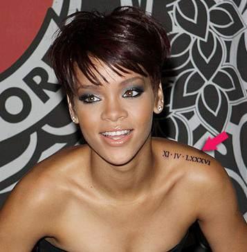 Rihanna Shoulder Letter Tattoos Design – Celebrity Tattoos for Women