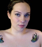 Twin Birds Shoulder Tattoos Designs for Women