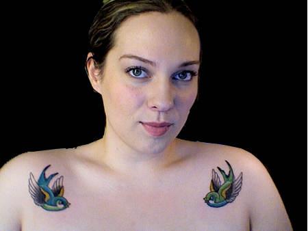 Twin Birds Shoulder Tattoos Designs for Women