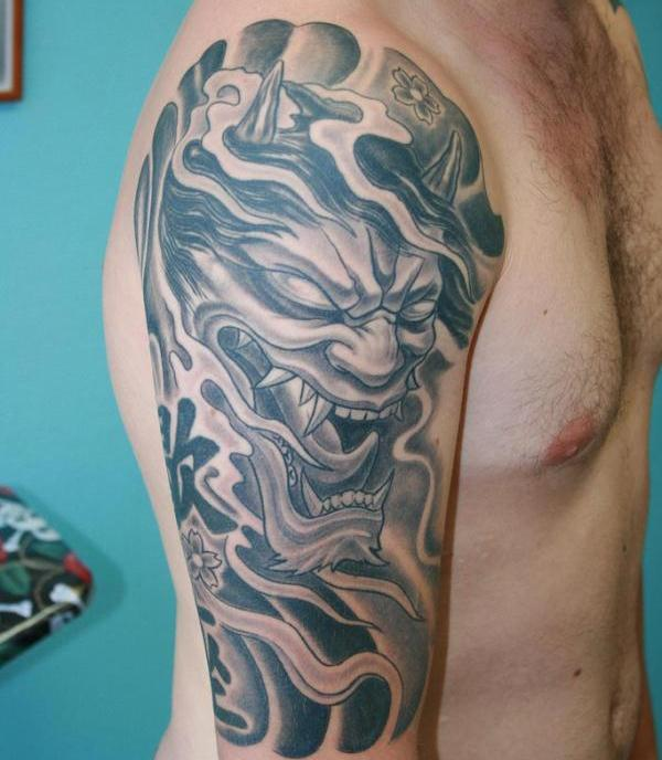 Devil Creature Shoulder / Arm Tattoo Design For Men