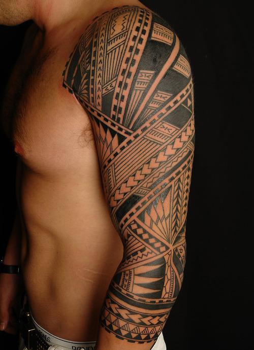 Men Arm Sleeve Tribal Tattoo