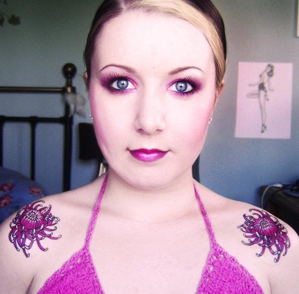Japanese Chrysanthemum Shoulder Tattoos for Woman