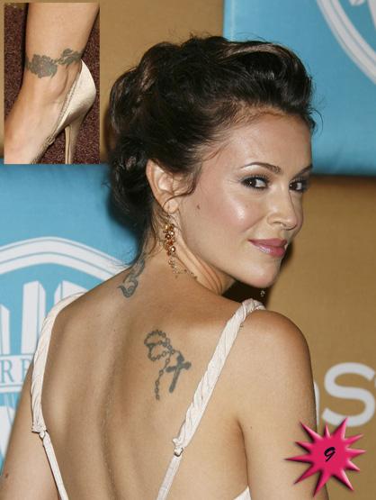 Cute Alyssa Milano's Shoulder Tattoos for Woman