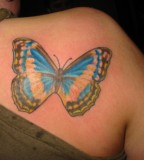Big and Cute Butterfly Back Shoulder Tattoo for Women