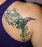 Hummingbird Back Shoulder Tattoos for Woman