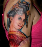 Women Shoulder Japanese Geisha Tattoos