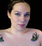 Cute Birds Women Shoulder Tattoos