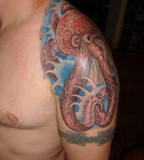 Aquatic Octopus Tattoo On Shoulder