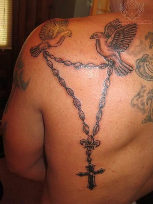 Birds And Rosary Tattoo On Back Shoulder