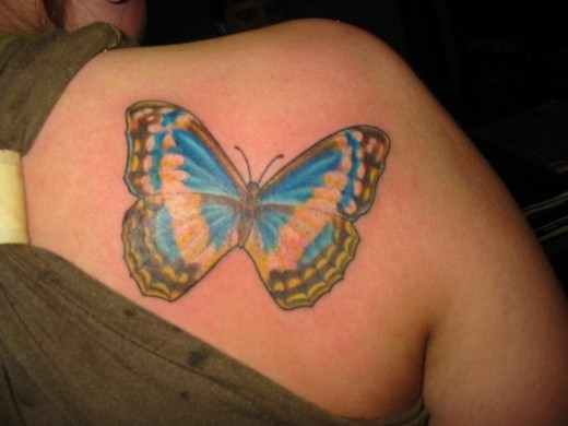 Butterfly Back Shoulder Tattoo Design