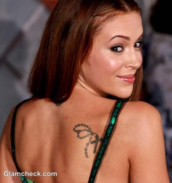 Celebrity Tattoo Alyssa Milano Neck and Shoulder Tattoos
