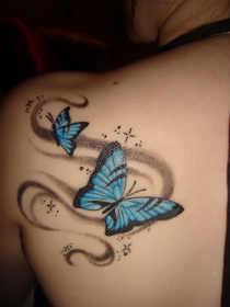 Blue Butterflys Shoulder Tattoo Designs For Both Men And Women Shoulder
