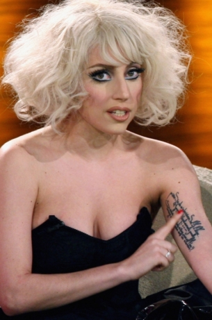 Lady Gaga Tattoos Only On Left Side Arm