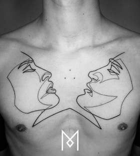 single-line-side-face-chest-tattoo-by-mo-ganji