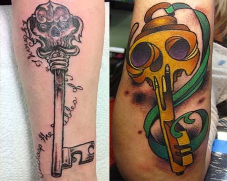 Gallant Skeleton Key Tattoo Design for Men
