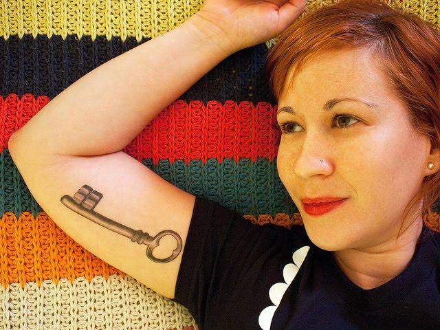 Sample of Sweet Girls Skeleton Key Tattoo Design on Arm