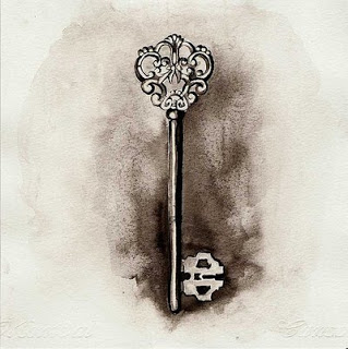 Thought Bubbles Vintage Skeleton Key Tattoo Design