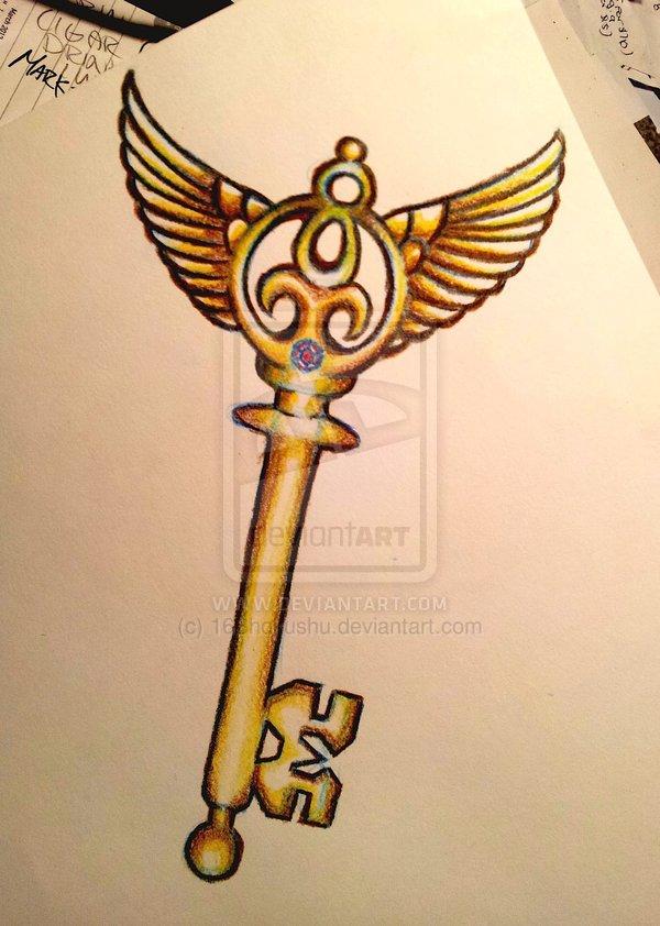 a7f64107d Winged Skeleton Key Tattoo Design Sketch on Deviantart ...