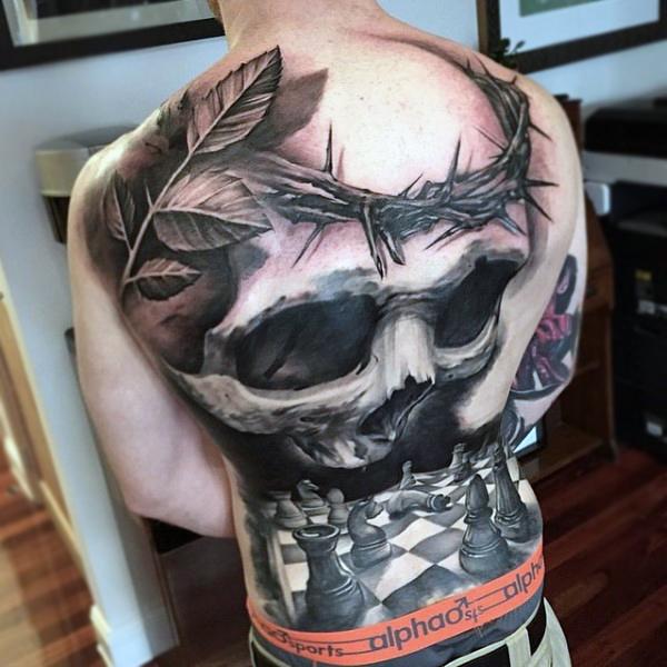 skull and chessboard tattoos for men