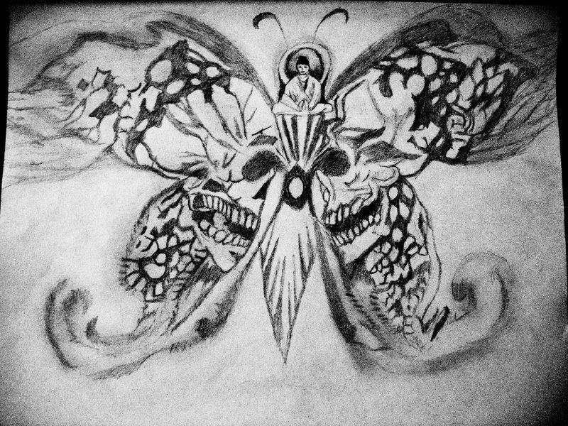 Skull Buddha Butterfly Tattoo