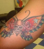 Forearm Skull Butterfly Tattoo