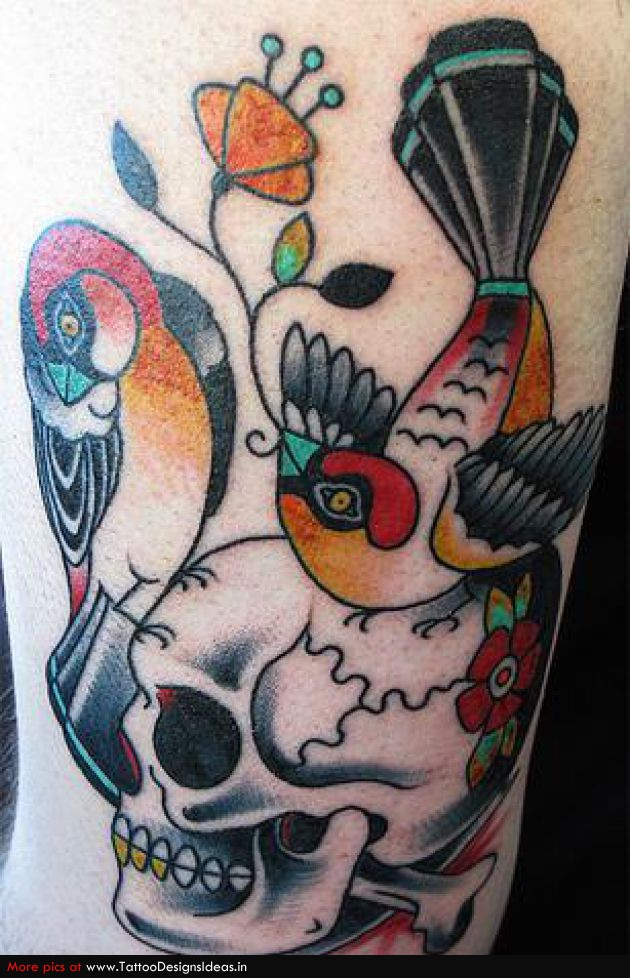 Design Of Bird And Skull Tattoos