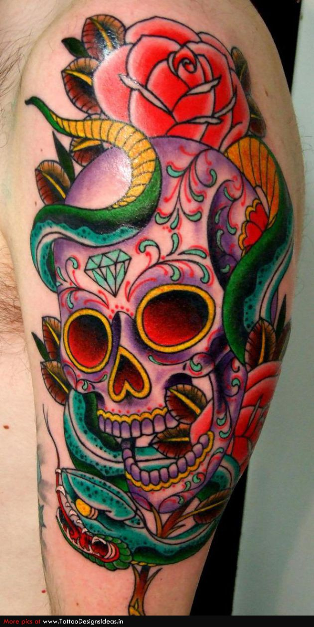 Sugar Skull With Wings Tattoo of Sugar Skull Tattoos