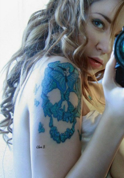 Butterfly Skull Shape Tattoo Design