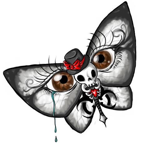 Butterfly / Skull / Eyes Illusion Tattoo Design