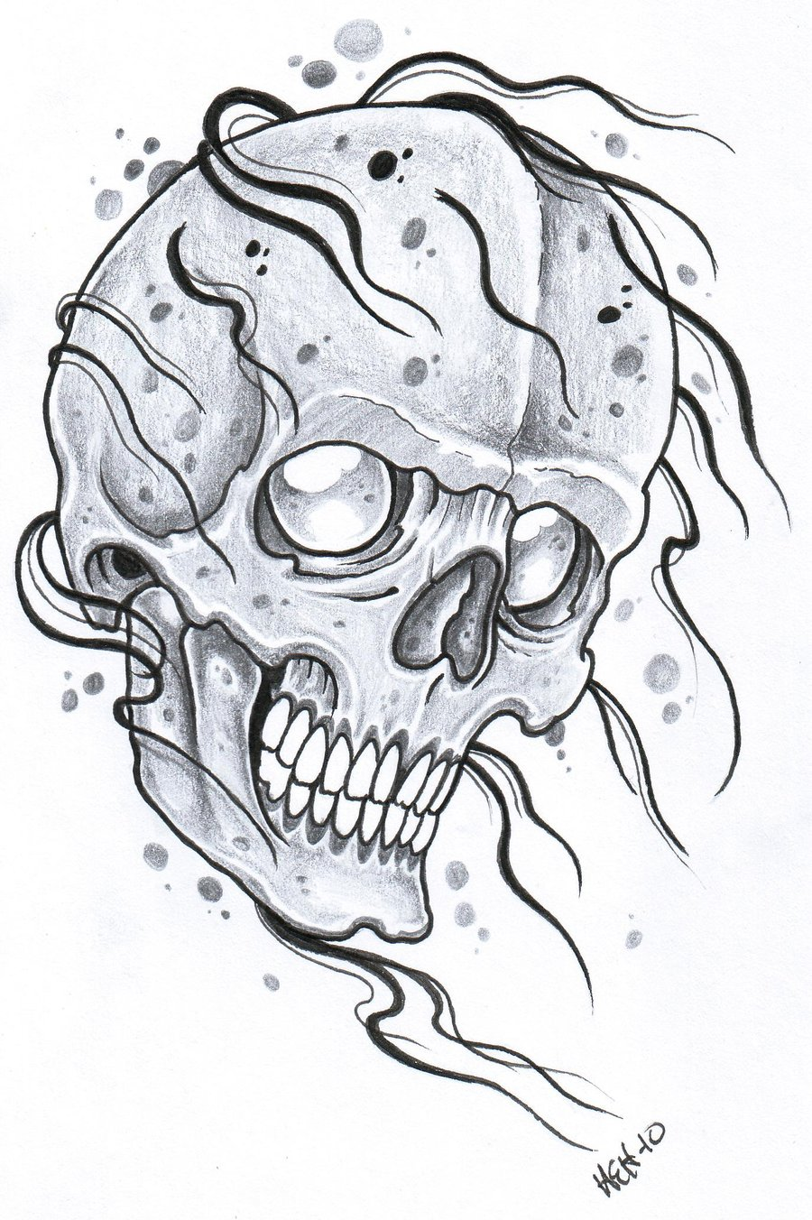 Engrave Skull Tattoo Design