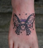 Foot Tattoo Design - Skull Butterfly Tattoo