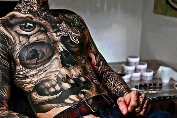 skull full suit man tattoo
